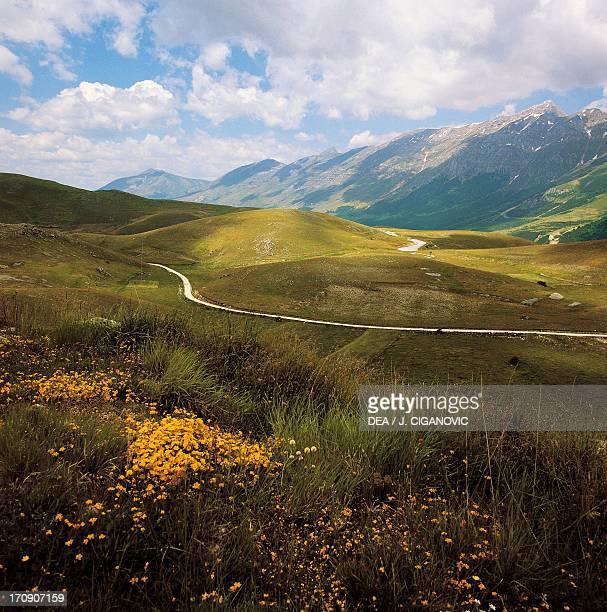 Grasslands in Campo Imperatore, Gran Sasso, Gran Sasso and Monti della Laga National Park, Abruzzo, Italy.