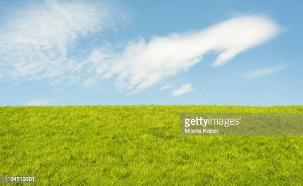 grassy dyke, middenhof, zeeland, netherlands - levee stock pictures, royalty-free photos & images