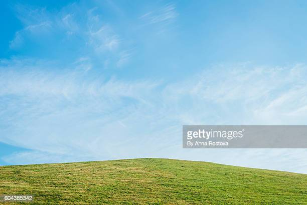 Grassy hill against clear blue sky in summer