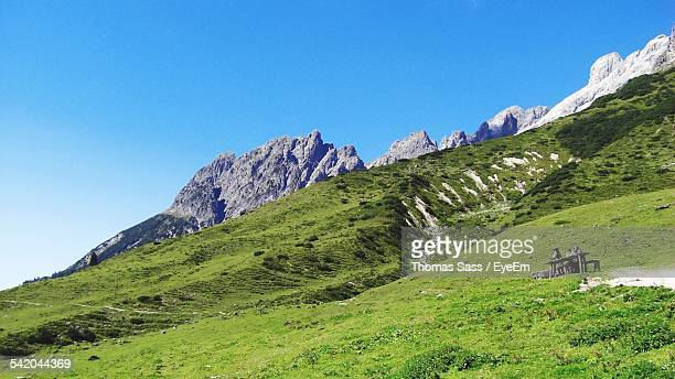Grassy Landscape Against Clear Sky