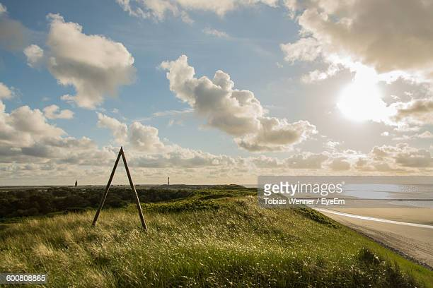 Grassy Landscape By Beach Against Cloudy Sky