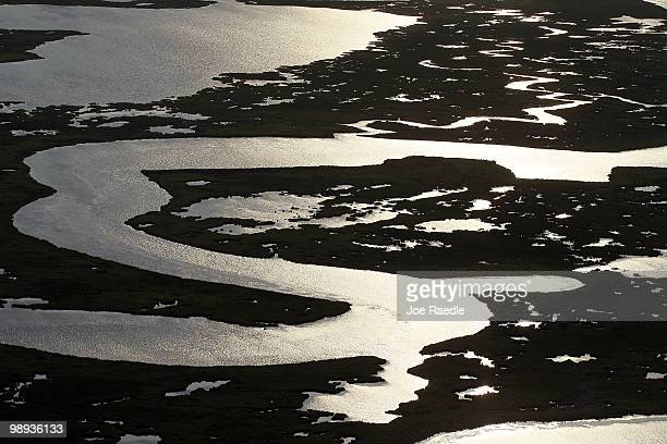 Grassy marsh wetlands of St Bernard Parish are seen as work continues to try to protect it from the massive oil spill on May 9 2010 in Gulf of Mexico...