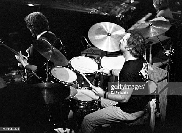 Grateful Dead drummer Bill Kreutzmann performs with Jerry Garcia at Winterland on March 20 1977 in San Francisco California