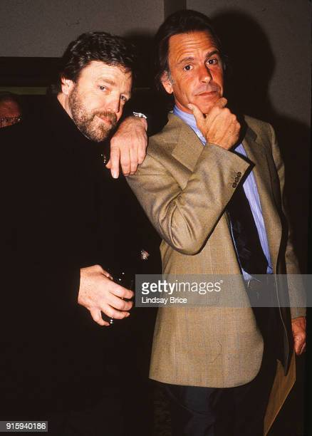 Grateful Dead songwriting partners and longtime friends John Perry Barlow and Bob Weir pose as if pondering deep thoughts as they arrive for the ACLU...