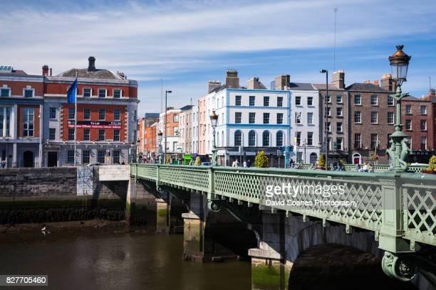 grattan bridge in dublin city, ireland - quayside stock pictures, royalty-free photos & images