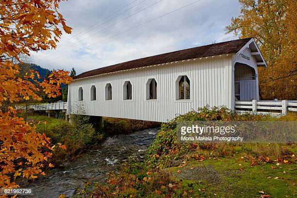 grave creek covered bridge, oregon - covered bridge stock photos and pictures