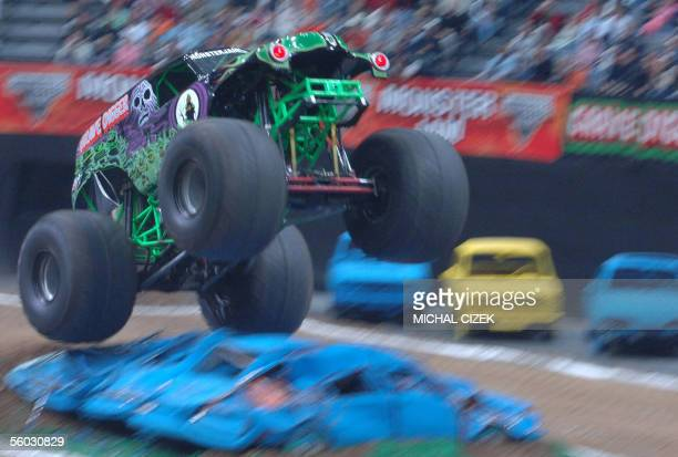 Grave Digger performs in Sazka Arena during the Monster Jam event the moster truck show on October 29 2005 in Prague A monster truck is approximately...