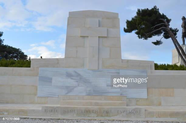 A grave in honour of New Zealand soldiers is seen at Chunuk Bair on the Gallipoli peninsula in Canakkale Turkey on November 4 2017 ''Turkey is...