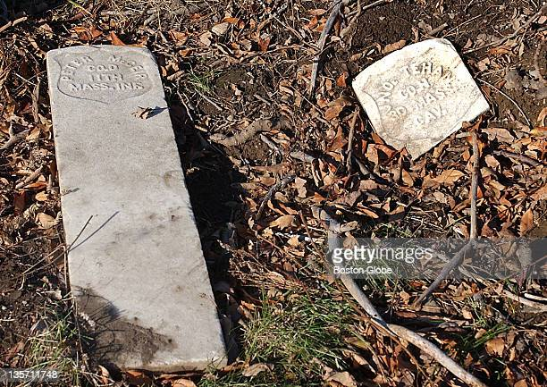 Grave markers lie on the ground where hundreds of pauper graves holding Civil War veterans are located and may include members of the famed 54th...