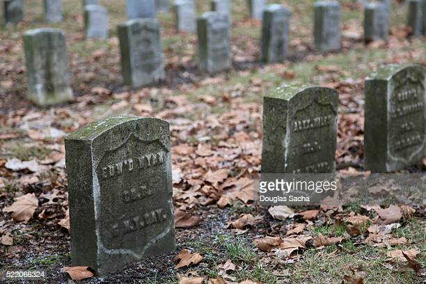 Grave markers of Union soldiers from the American civil war