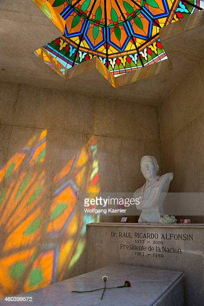 Grave of Dr Raul Ricardo Alfonsin former President on La Recoleta Cemetery a cemetery located in the Recoleta neighbourhood of Buenos Aires in...