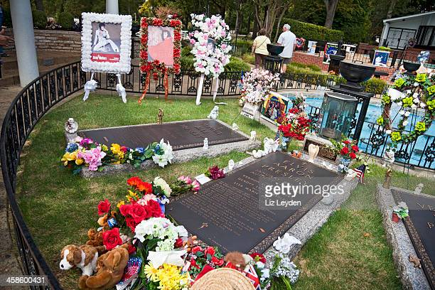 grave of elvis presley, with tributes, graceland, memphis, tennessee - graceland stock pictures, royalty-free photos & images