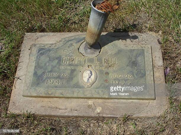 Grave of Emmett Louis 'Bobo' Till in Burr Oak Cemetery, Alsip, Illinois. Emmett Till was murdered by whites in Mississippi after speaking to a white...