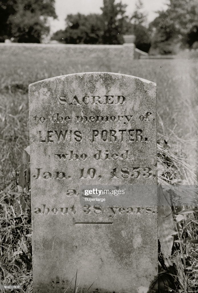 Grave of Lewis Porter, a slave who died 1853 with tombstone erected by his master Major Porter; Fairview Cemetery, Eufaula, Alabama