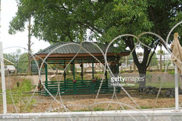 Grave of PDP founder Mufti Mohammad Sayeed seen at Dara Shikoh Park Bijbehara on June 20 2018 in Anantnag India