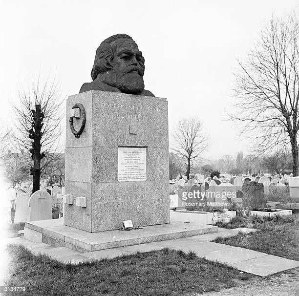 Grave of the German social political and economic theorist Karl Marx at Highgate Cemetery in London