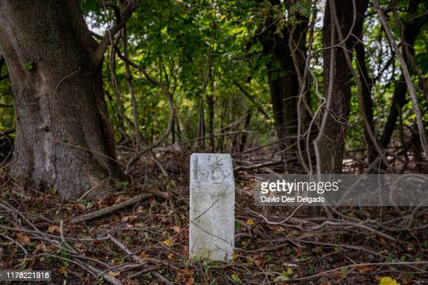 A grave site marker indicating a plot of individual lots of buried remains stands on Hart Island on October 25 2019 in New York City Hart Island...