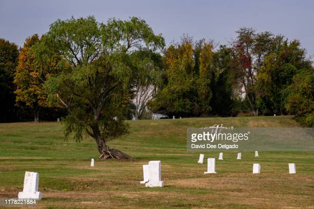 Grave site markers indicating plots of individual lots of buried remains stand on Hart Island on October 25 2019 in New York City Hart Island located...