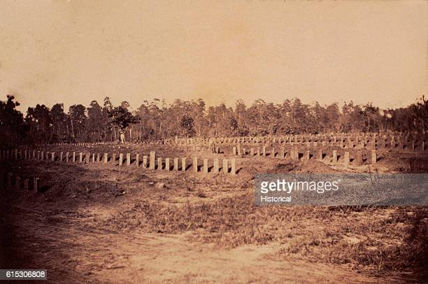Grave stones mark the location of Union prisoners of war buried at Andersonville Georgia The image was used to inflame public opinion against the...