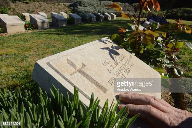 Grave stones of the Anzac soldiers are seen at Australian Cemetery days before the ANZAC Dawn service in Canakkale, Turkey on April 11, 2016....