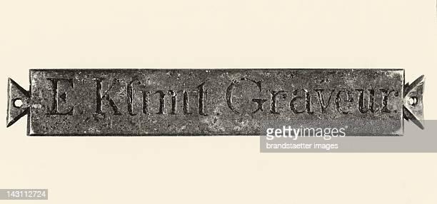 Graved door plate by Ernst Klimt senior father of Gustav Klimt Vienna Austria Second half of the 19th century