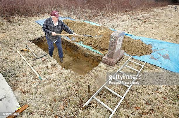 Gravedigger Everard Hall digs a grave in a cemetery in Cherryfield on April 25, 2014. Hall figures he has dug about 2500 graves.
