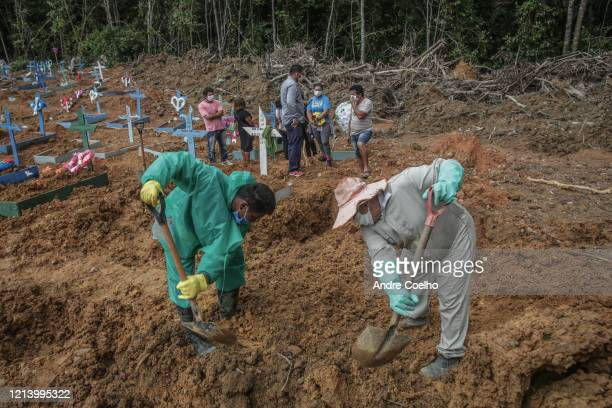 Gravediggers wearing personal protective equipment working during a burial of Joao Ricardo da Silva at the Parque Taruma cemetery on May 19, 2020 in...