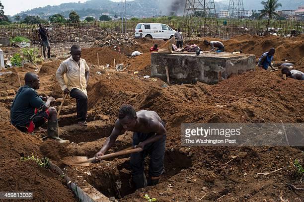 Gravediggers work in the overbearing heat at King Tom Cemetery in Freetown Sierra Leone on Sunday November 23 2014