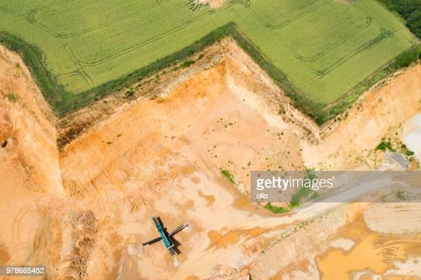 Gravel and sand open pit mining - escarpment
