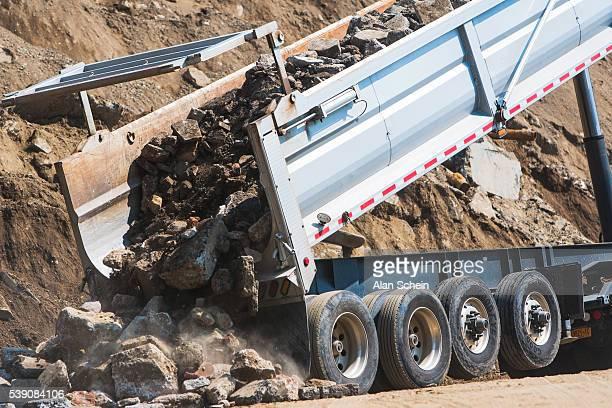 Gravel and stone delivery truck, dump truck, semi