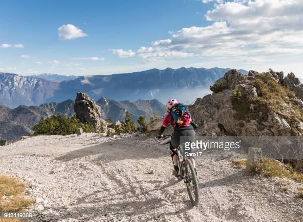 Gravel mountainbike downhill from Passo Tremalzo, Italy.