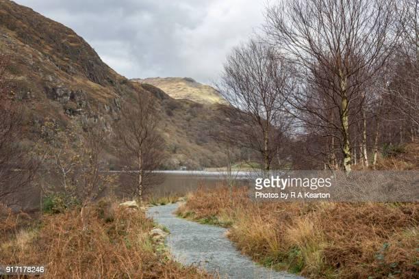 Gravel path beside Llyn Dinas, Snowdonia national park, Wales