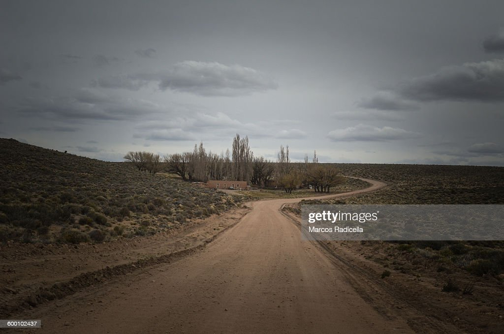 Gravel road at patagonian steppe : Stock Photo