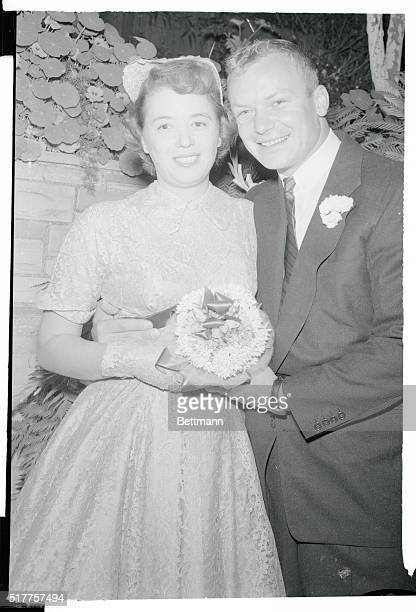 Gravel voiced movie actor Aldo Ray and his actress bride Jeff O'Donnell are the pictured of blissful bride and groom after their wedding at Orinda...