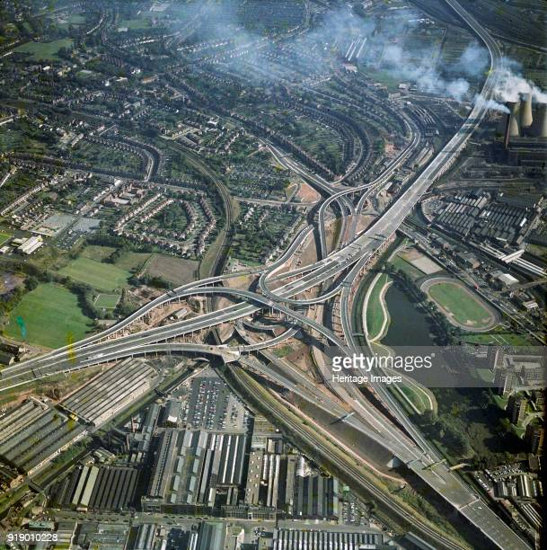 Gravelly Hills Interchange, Birmingham, West Midlands, 1971. Junction 6 on the M6 motorway meets the A38 and A5127 in a complex known as 'Spaghetti...