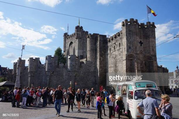 Gravensteen Castle and Square with People, Ghent, Belgium