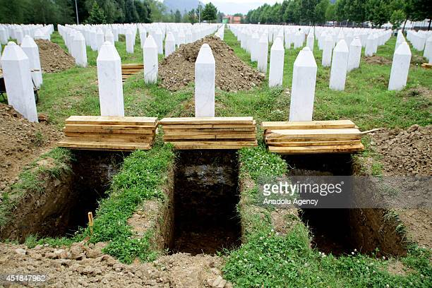 Graves are prepared for 175 victims of Srebrenica massacre committed by Serbian troops on July 11 in Srebrenica Bosnia and Herzegovina on July 8 2014...