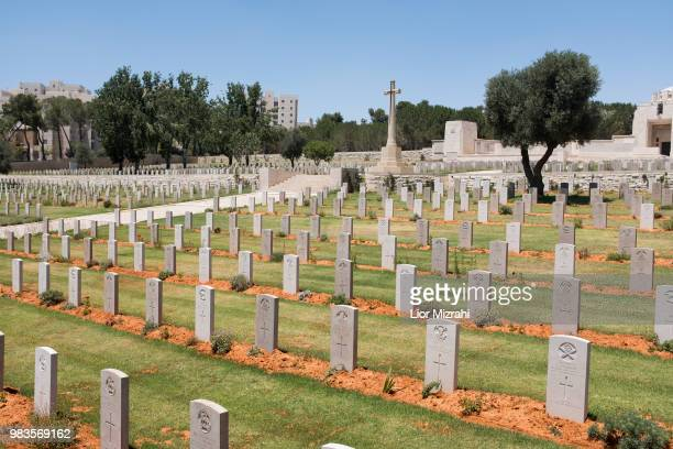 Graves are seen at the British cemetery in Jerusalem for fallen servicemen of the British Commonwealth in the World War I at the Mount Scopus June 25...