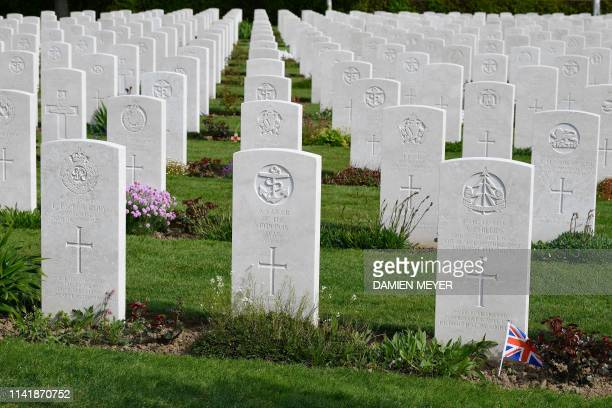 Graves of British soldiers are seen at the Bayeux War Cemetery in Bayeux northwestern France on May 6 2019 The Commonwealth War Graves Commission is...