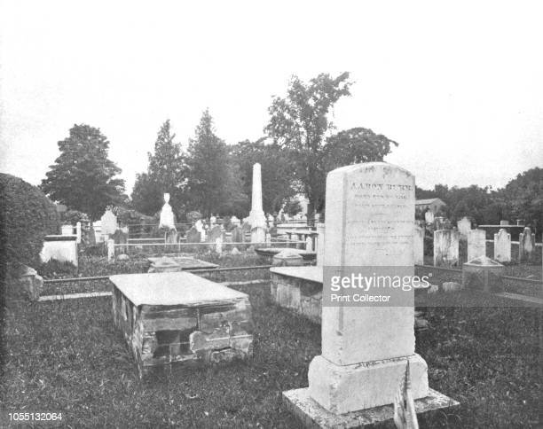 Graves of Jonathan Edwards and Aaron Burr Princetown New Jersey USA circa 1900 View of Princeton Cemetery and the graves of American politician Aaron...