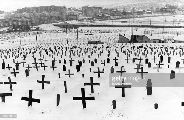 Graves of Muslims Croats and Serbs at Zetra Stadium at Sarajevo during the siege of Sarajevo in the civil war