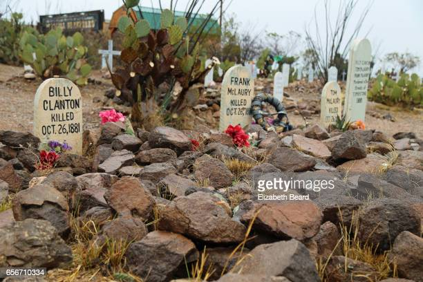 editorial use: graves of ok corral gunfight participants, boothill graveyard, tombstone, arizona - tombstone arizona stock pictures, royalty-free photos & images