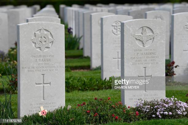 Graves of soldiers are seen at the Bayeux War Cemetery in Bayeux northwestern France on May 6 2019 The Commonwealth War Graves Commission is...