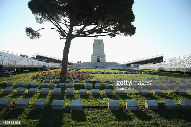 Graves of some of the 8,700 Australian soldiers who died during the Gallipoli Campaign lie at the cememtery at the Lone Pine Memorial as...