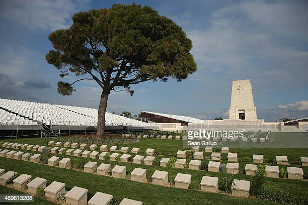 Graves of some of the 8,700 Australian soldiers who died during the Gallipoli Campaign lie at the cememtery at the Lone Pine Memorial as stands for...