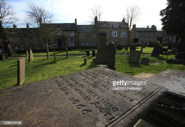 Graves of those who lost their lives in the Great Plague are seen in the village of Eyam in Derbyshire northern England on March 23 2020 In the 17th...