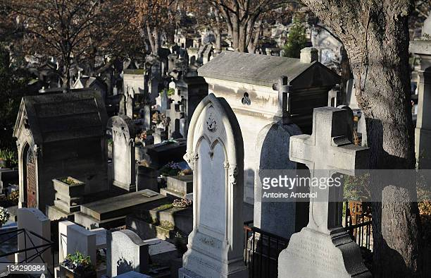 Graves stand at Cimetierre du Pere Lachaise on November 29 2011 in Paris France