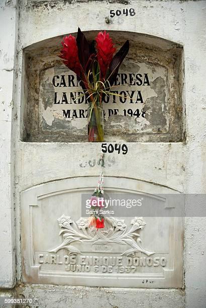 Gravestone at La Ciudad Blanca or White City cemetery, Guayaquil, Ecuador, South America