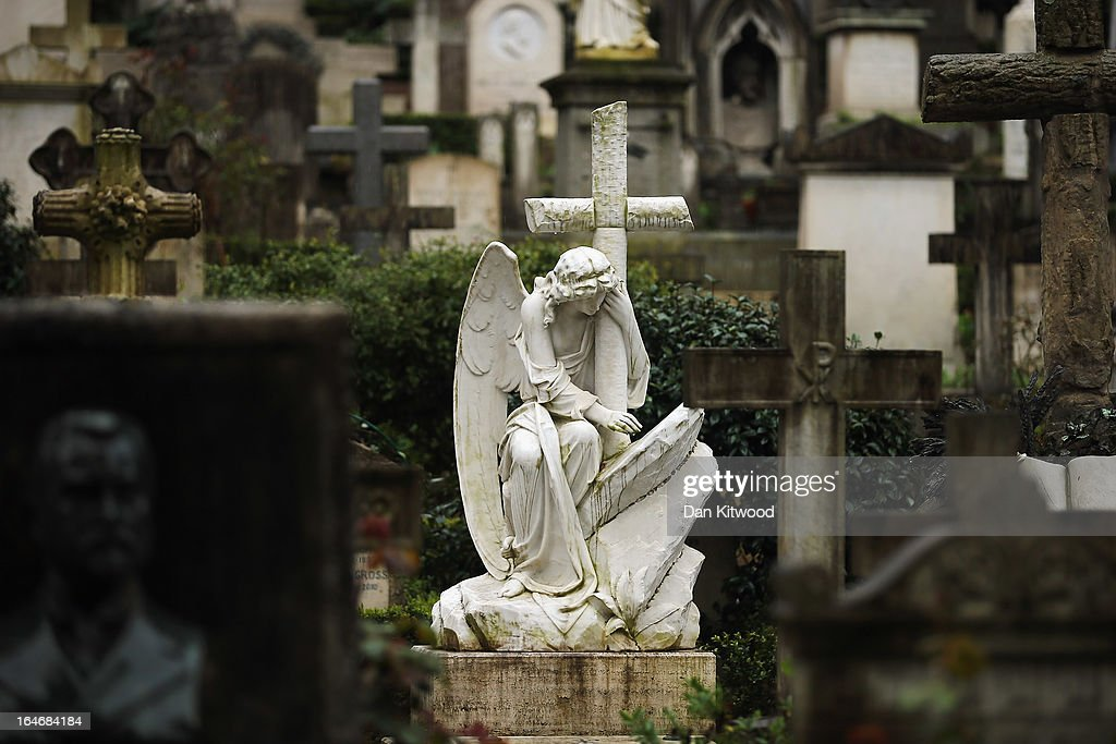 A gravestone stands in Rome's 'Non Catholic Cemetery' on March 26, 2013 in Rome, Italy. Rome's Non-Catholic Cemetery contains one of the highest densities of famous and important graves anywhere in the world including John Keats, one of England's most famous poets, who died early in 1820 of tuberculosis aged 25, after travelling to Italy in search of a better climate to help cure him of the disease. As well as being the final resting-place of the poets Percy Shelley and John Keats, it is also home to graves of many other painters, sculptors and authors who died in Rome. The cemetery which began it's use in 1730 continues today, containing graves of Orthodox Christians, Jews, Muslims and other non-Christians, and is one of the oldest burial grounds in Europe.