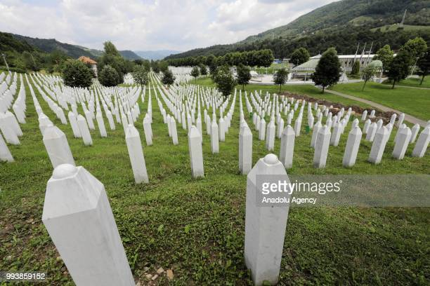 Gravestones are seen as victims' graves are prepared ahead of funeral ceremony of identified 35 people who died in the Srebrenica Massacre and will...